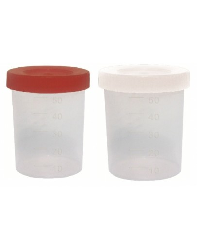 Coletor de Urina 50mL com Tampa Branca Năo Estéril Com Pá (100 unidades) - J.Prolab