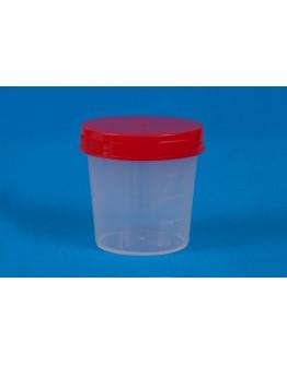 Coletor de Urina 50ml Estéril Translúcido com Tampa Vermelha sem Pá (100 unid) - J.Prolab