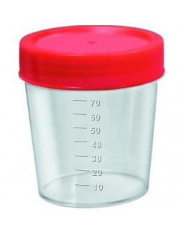 Coletor de Urina 80ml com Tampa Vermelha Estéril sem Pá (100 unid) - Cral
