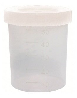 Coletor de Urina 50ml Não Estéril Translúcido Tampa Branca sem Pá (100 unid) - Cral