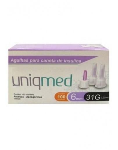 Agulha para Caneta de Insulina 6mm 31G 0,25mm - Uniqmed