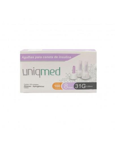 Agulha para Caneta de Insulina 8mm 31G 0,26mm - Uniqmed