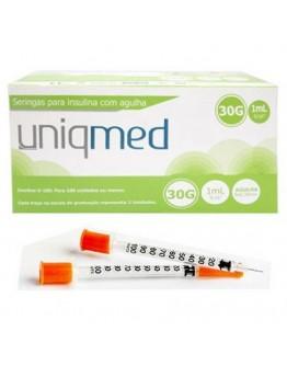 Seringa para Insulina 1ml com Agulha 0,33x12,7mm (10 unidades) - Uniqmed